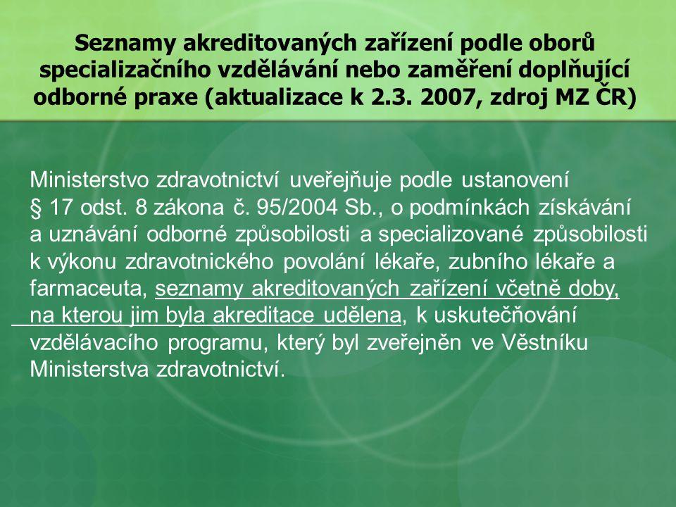 Seznamy akreditovaných zařízení podle oborů specializačního vzdělávání nebo zaměření doplňující odborné praxe (aktualizace k 2.3. 2007, zdroj MZ ČR)