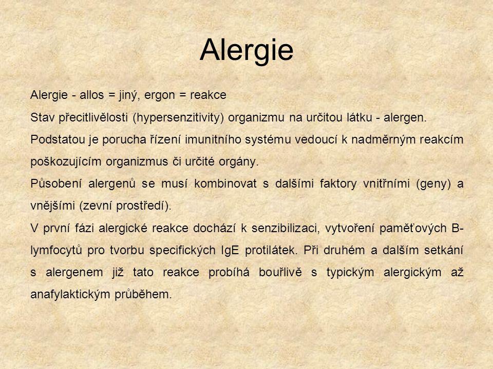 Alergie Alergie - allos = jiný, ergon = reakce