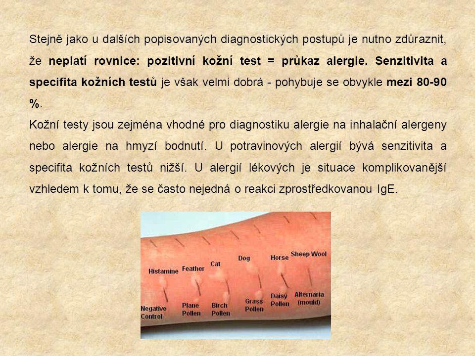 Stejně jako u dalších popisovaných diagnostických postupů je nutno zdůraznit, že neplatí rovnice: pozitivní kožní test = průkaz alergie. Senzitivita a specifita kožních testů je však velmi dobrá - pohybuje se obvykle mezi 80-90 %.