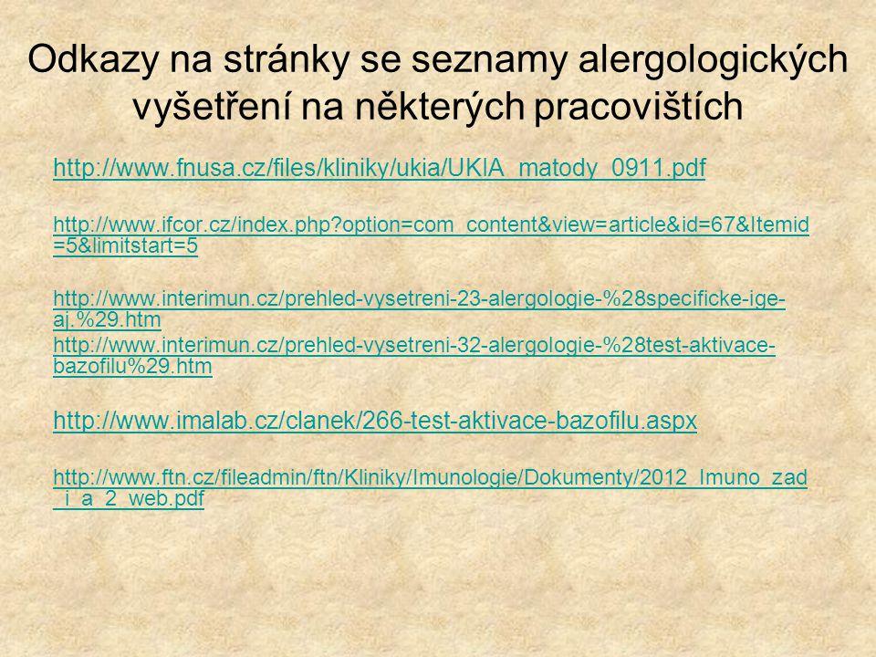 Odkazy na stránky se seznamy alergologických vyšetření na některých pracovištích