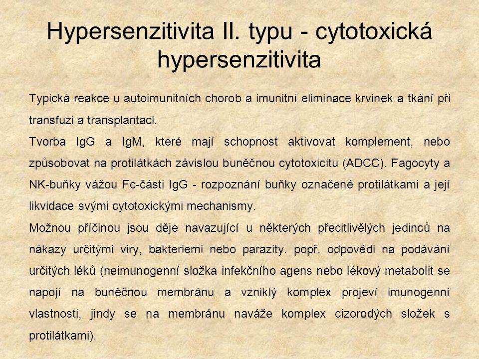 Hypersenzitivita II. typu - cytotoxická hypersenzitivita