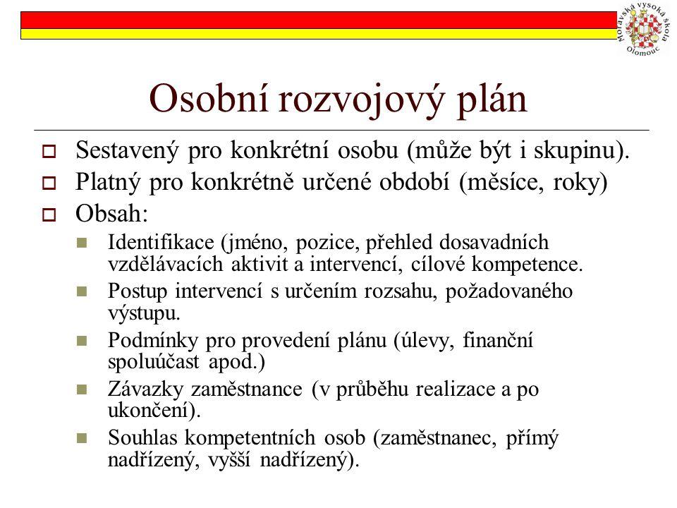 Osobní rozvojový plán Sestavený pro konkrétní osobu (může být i skupinu). Platný pro konkrétně určené období (měsíce, roky)