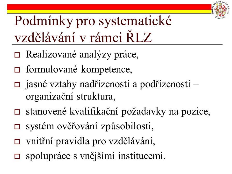 Podmínky pro systematické vzdělávání v rámci ŘLZ