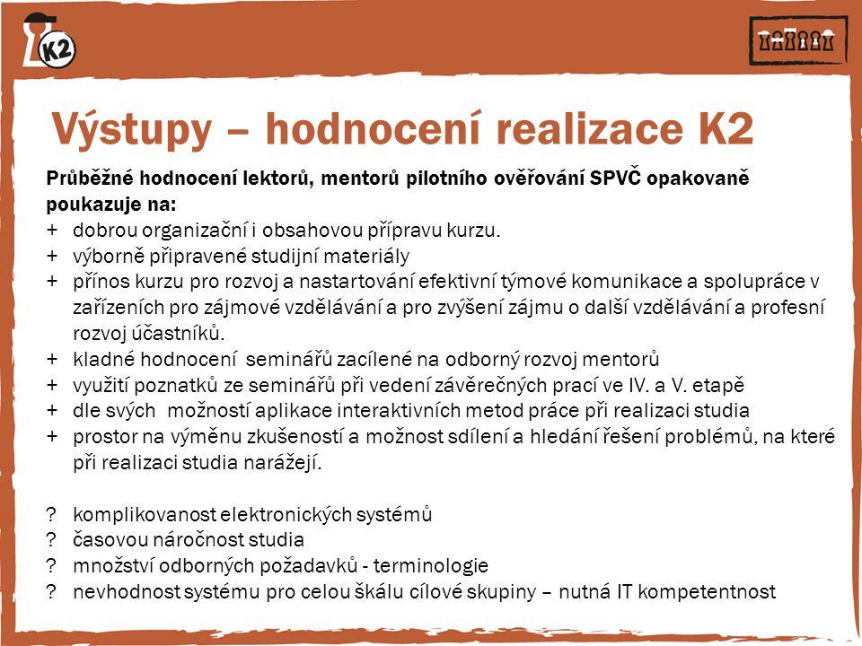Výstupy – hodnocení realizace K2
