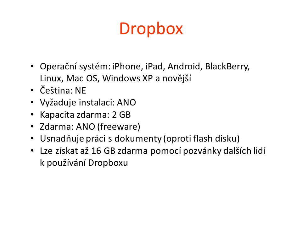Dropbox Operační systém: iPhone, iPad, Android, BlackBerry, Linux, Mac OS, Windows XP a novější. Čeština: NE.