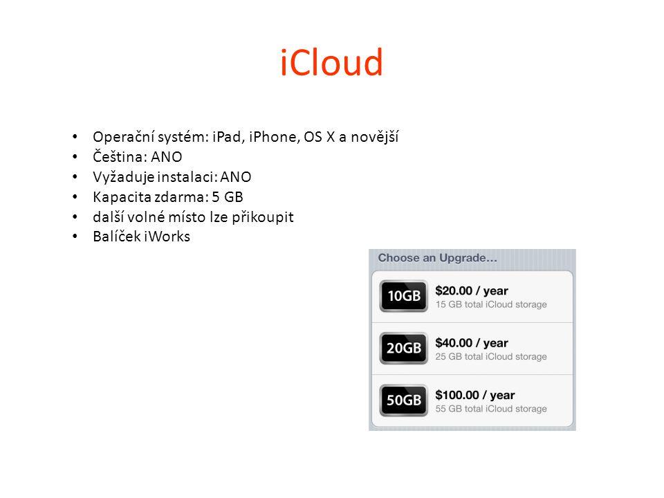 iCloud Operační systém: iPad, iPhone, OS X a novější Čeština: ANO