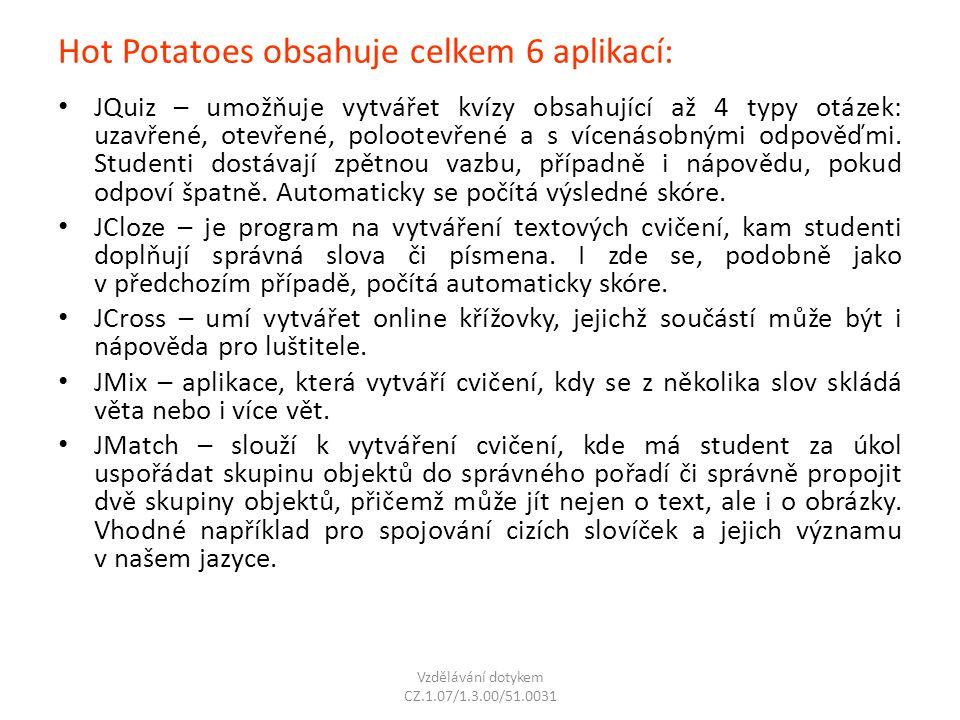 Hot Potatoes obsahuje celkem 6 aplikací: