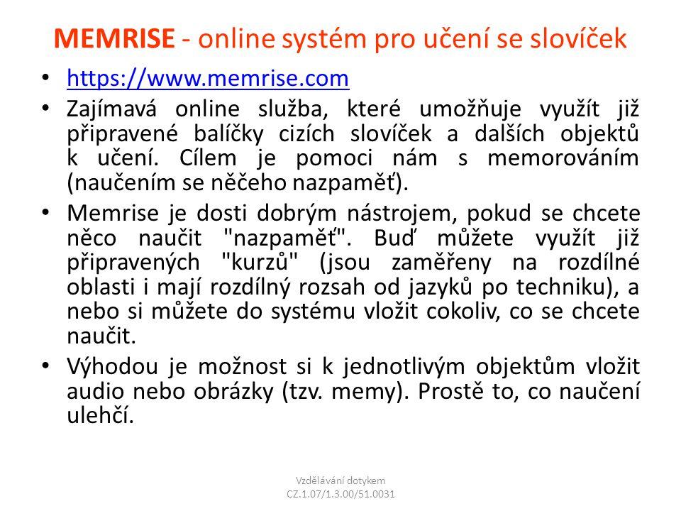 MEMRISE - online systém pro učení se slovíček