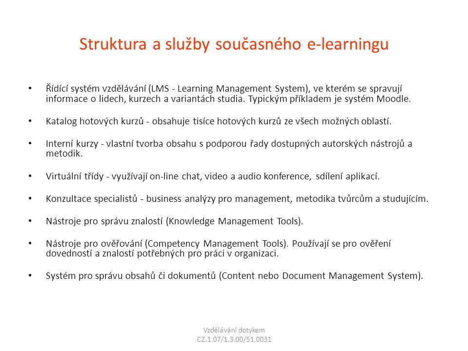 Struktura a služby současného e-learningu