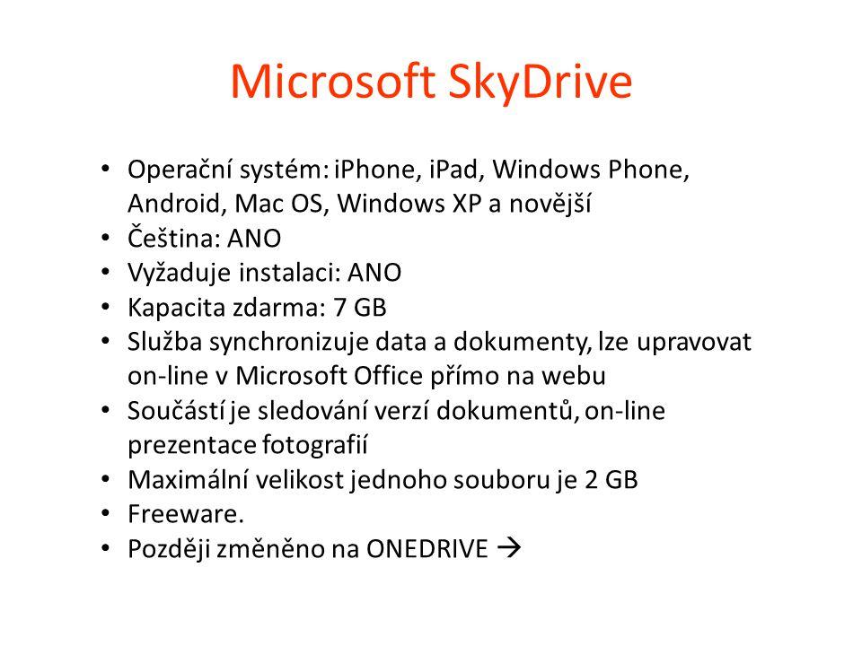 Microsoft SkyDrive Operační systém: iPhone, iPad, Windows Phone, Android, Mac OS, Windows XP a novější.