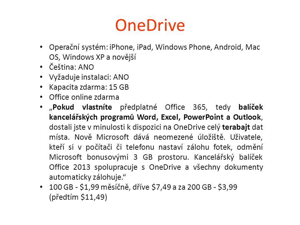OneDrive Operační systém: iPhone, iPad, Windows Phone, Android, Mac OS, Windows XP a novější. Čeština: ANO.