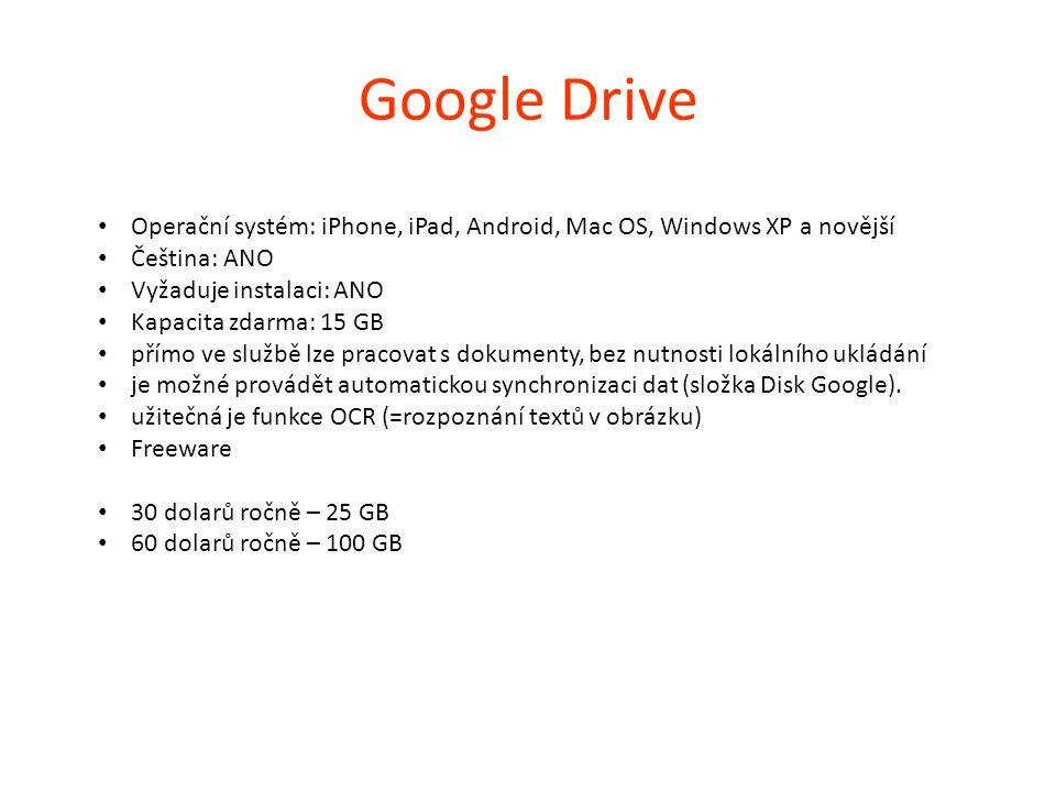 Google Drive Operační systém: iPhone, iPad, Android, Mac OS, Windows XP a novější. Čeština: ANO. Vyžaduje instalaci: ANO.