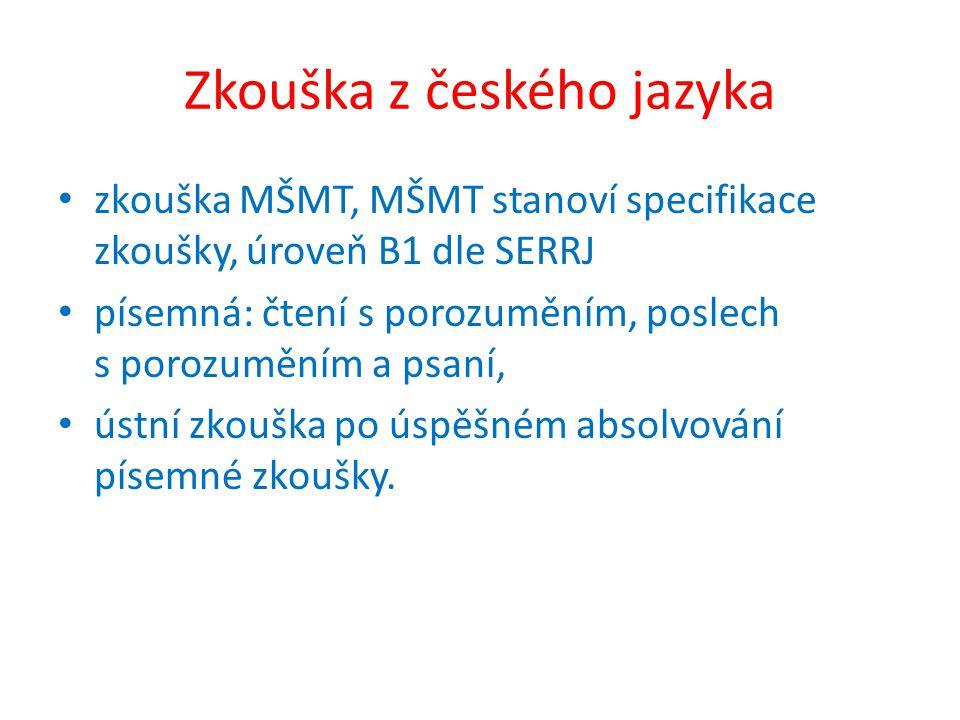 Zkouška z českého jazyka