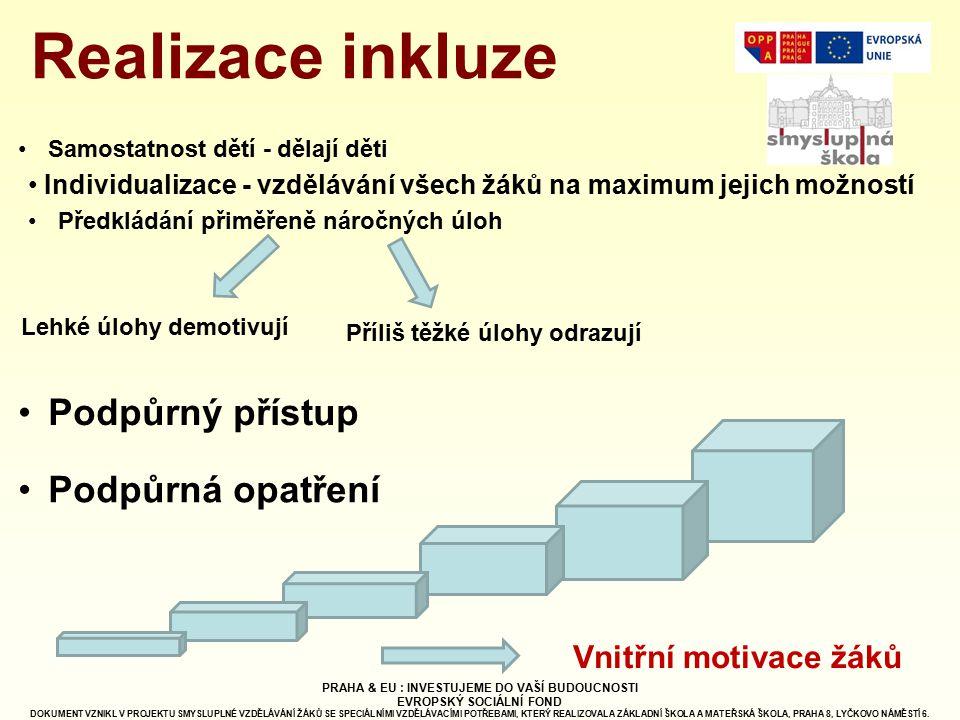 Realizace inkluze Podpůrný přístup Podpůrná opatření