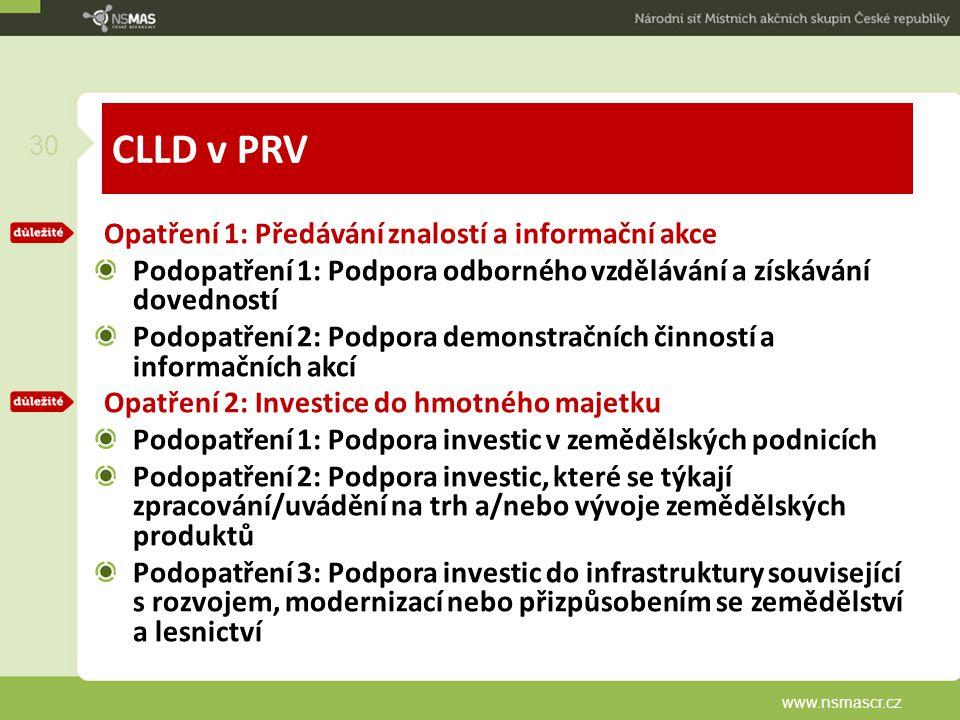 CLLD v PRV Opatření 1: Předávání znalostí a informační akce