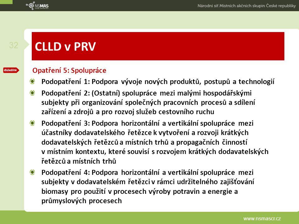 CLLD v PRV Opatření 5: Spolupráce