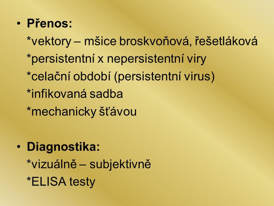 Přenos: *vektory – mšice broskvoňová, řešetláková. *persistentní x nepersistentní viry. *celační období (persistentní virus)