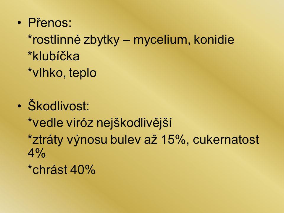 Přenos: *rostlinné zbytky – mycelium, konidie. *klubíčka. *vlhko, teplo. Škodlivost: *vedle viróz nejškodlivější.
