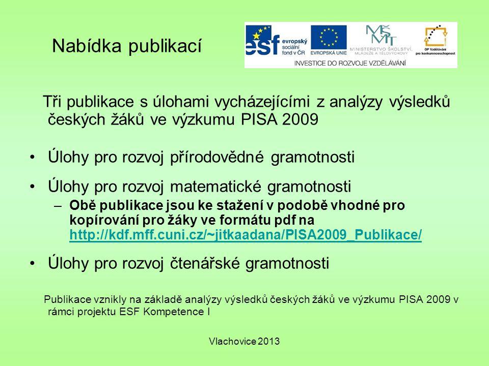 Nabídka publikací Tři publikace s úlohami vycházejícími z analýzy výsledků českých žáků ve výzkumu PISA 2009.