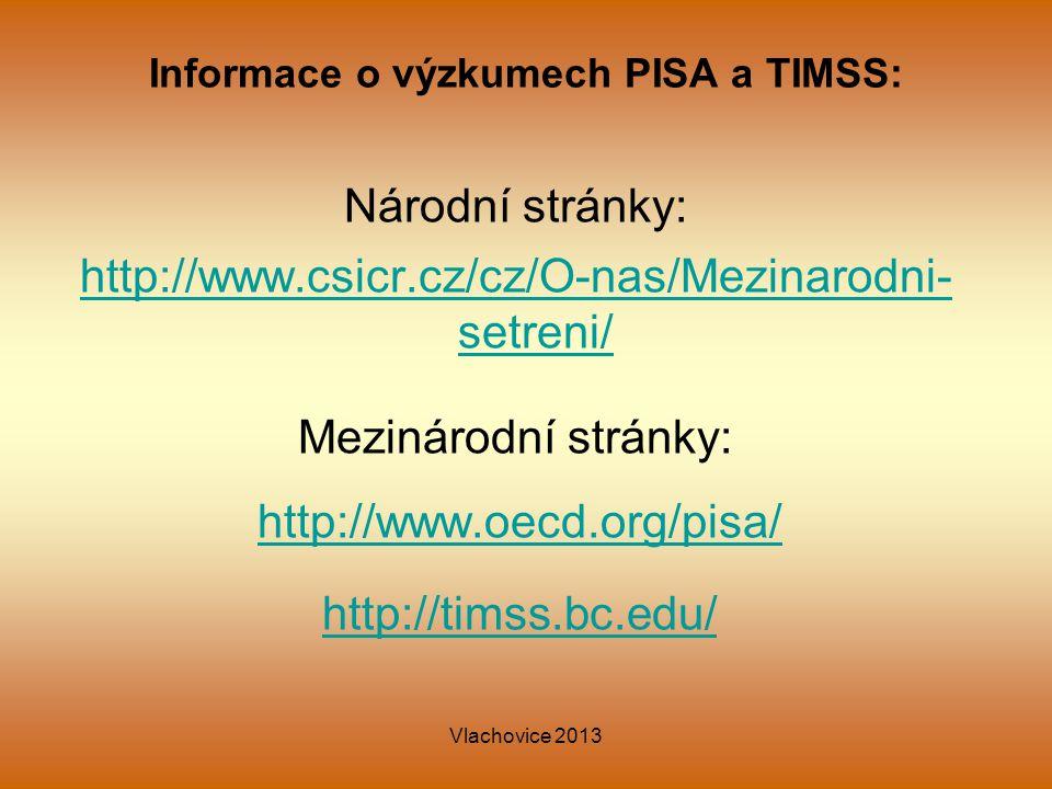 Informace o výzkumech PISA a TIMSS: