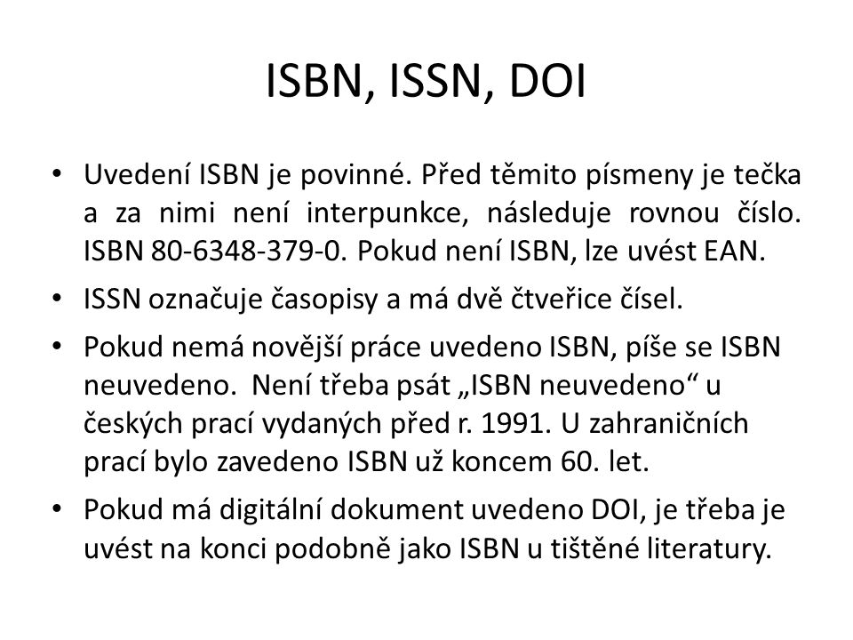ISBN, ISSN, DOI