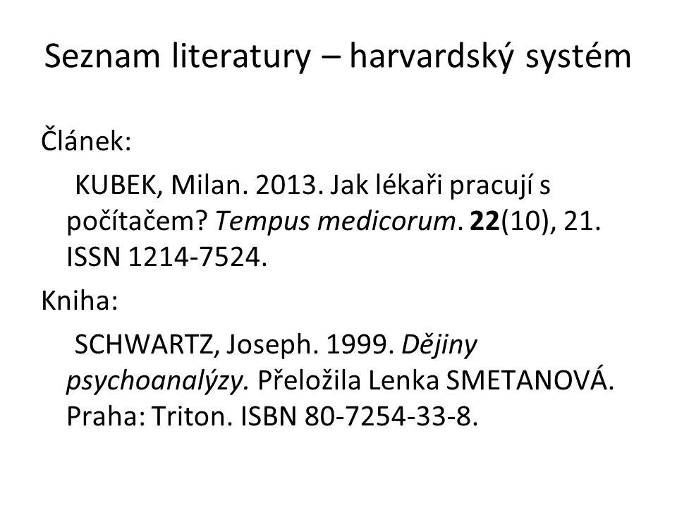 Seznam literatury – harvardský systém