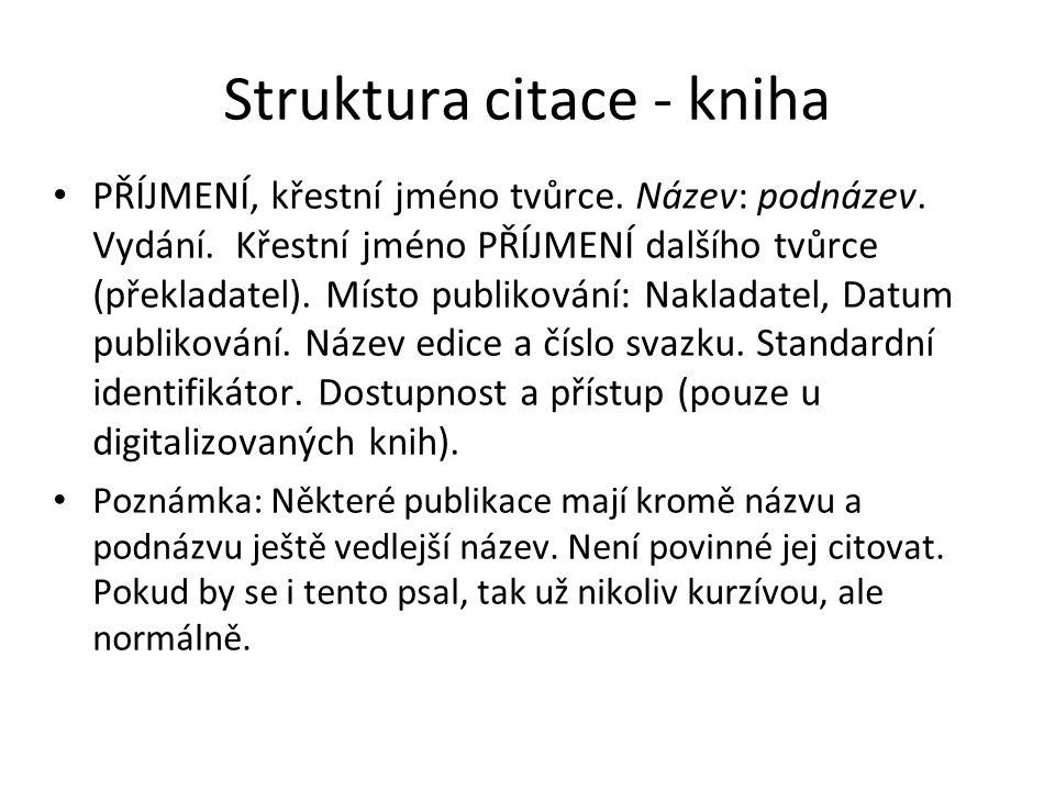 Struktura citace - kniha