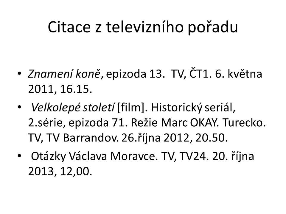 Citace z televizního pořadu