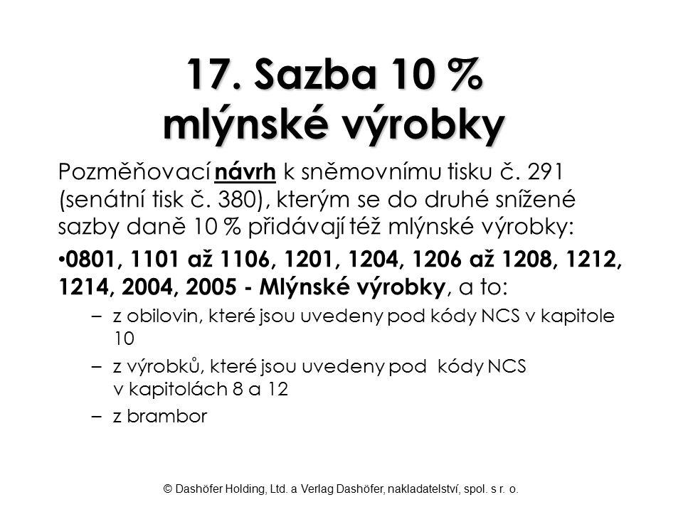 17. Sazba 10 % mlýnské výrobky