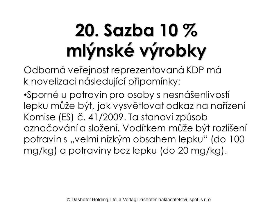 20. Sazba 10 % mlýnské výrobky