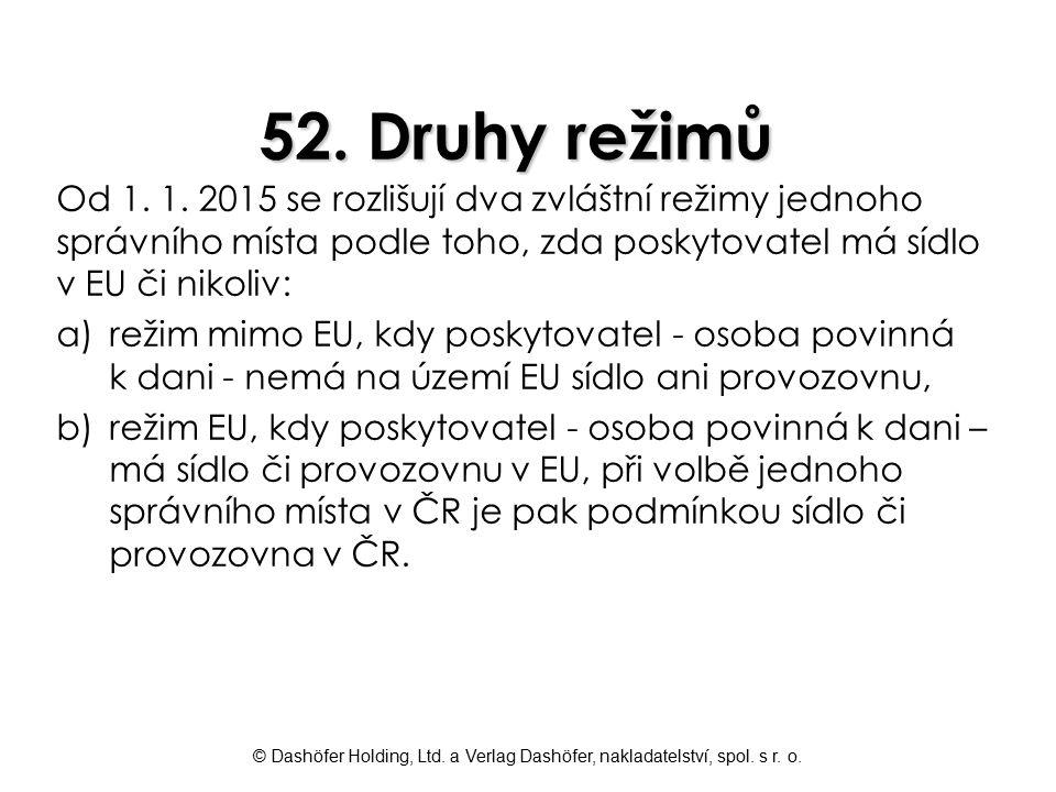 52. Druhy režimů Od 1. 1. 2015 se rozlišují dva zvláštní režimy jednoho správního místa podle toho, zda poskytovatel má sídlo v EU či nikoliv: