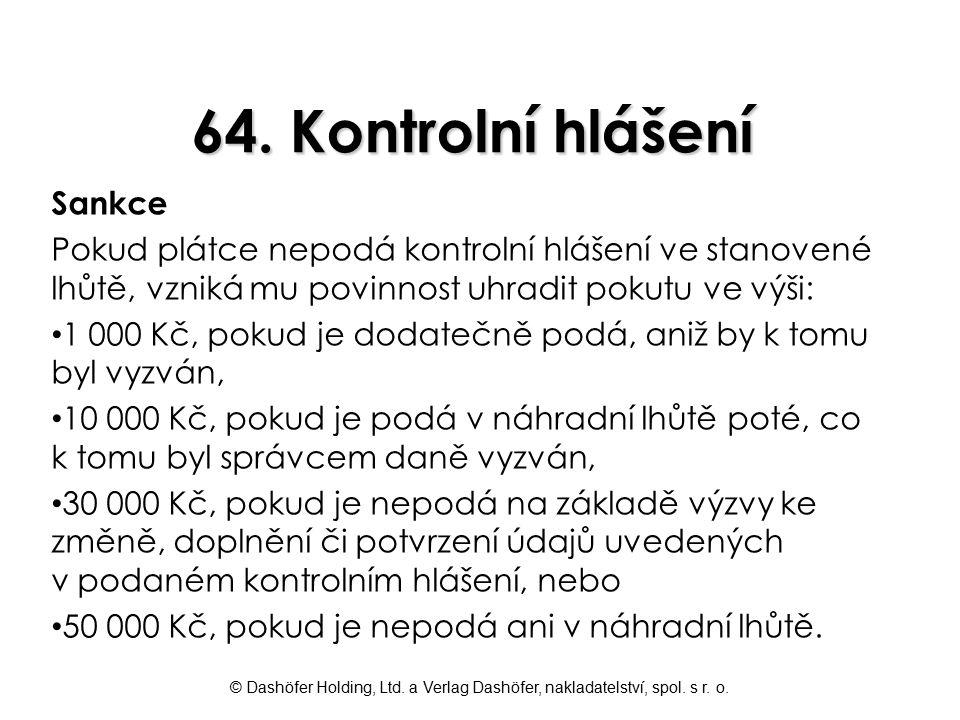 64. Kontrolní hlášení Sankce