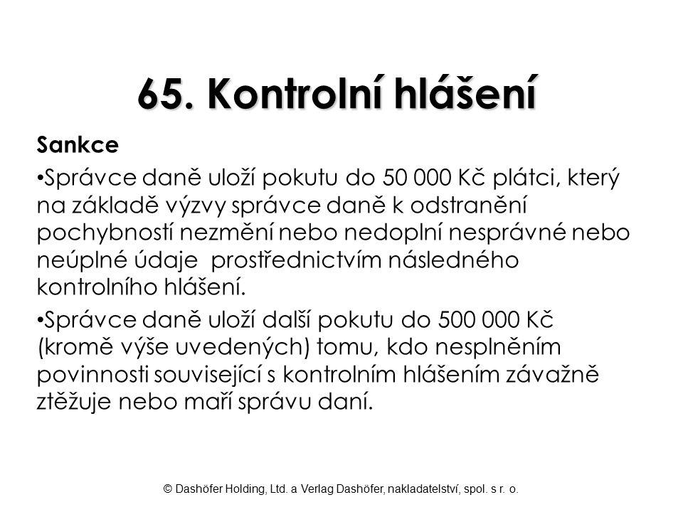 65. Kontrolní hlášení Sankce