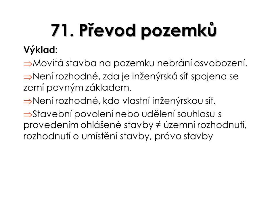 71. Převod pozemků Výklad: