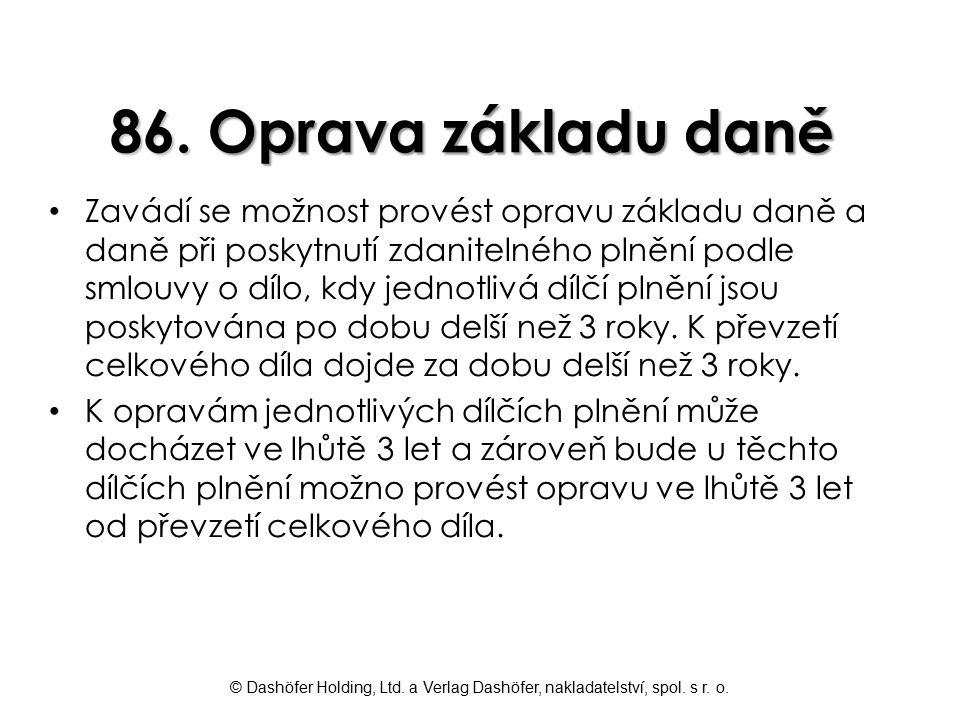 86. Oprava základu daně