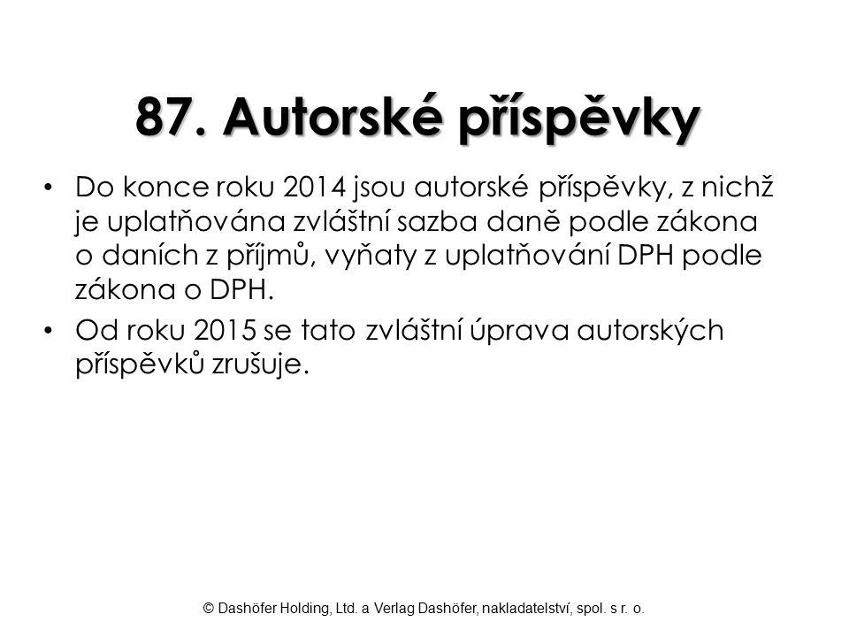 87. Autorské příspěvky