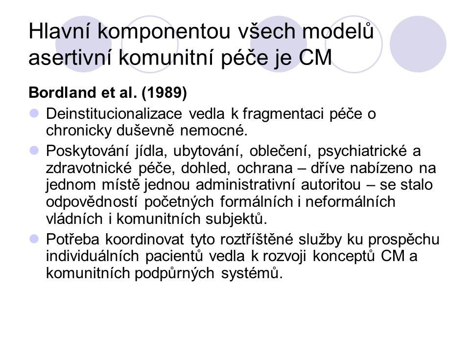 Hlavní komponentou všech modelů asertivní komunitní péče je CM