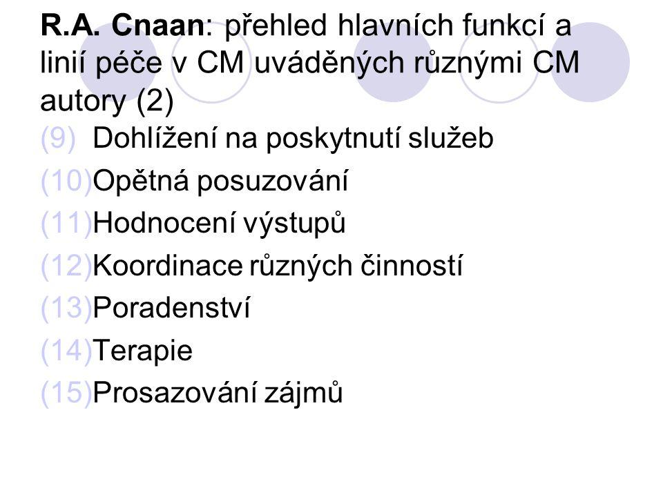 R.A. Cnaan: přehled hlavních funkcí a linií péče v CM uváděných různými CM autory (2)