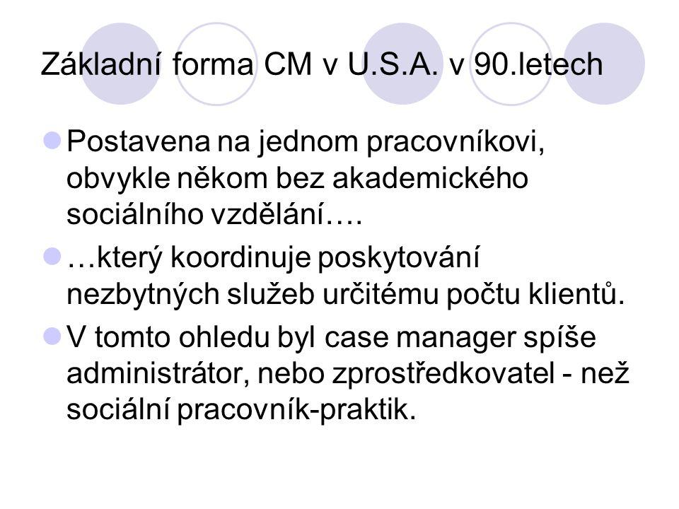 Základní forma CM v U.S.A. v 90.letech