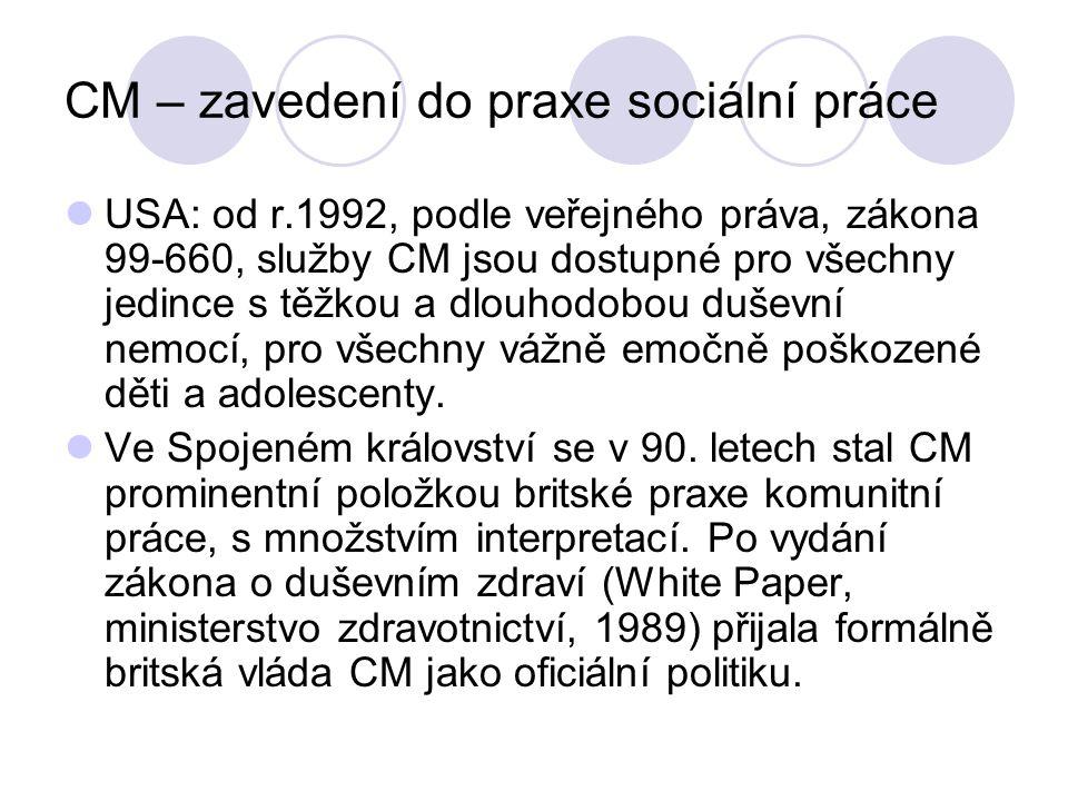 CM – zavedení do praxe sociální práce