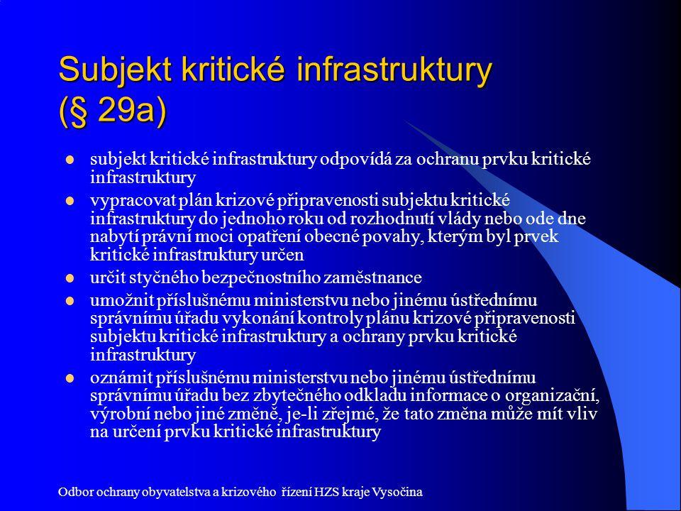 Subjekt kritické infrastruktury (§ 29a)