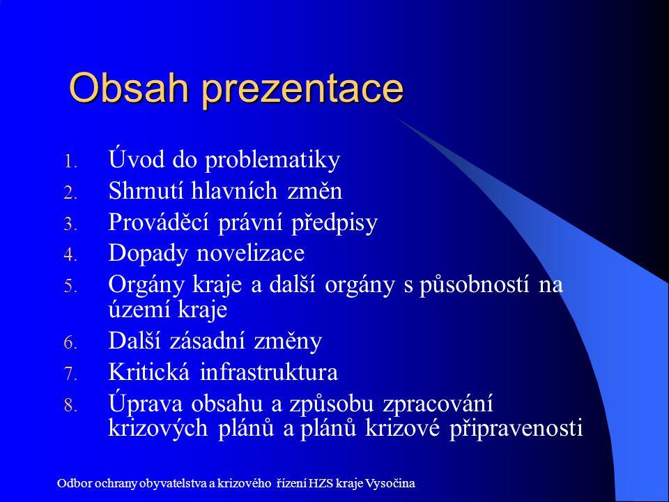 Obsah prezentace Úvod do problematiky Shrnutí hlavních změn