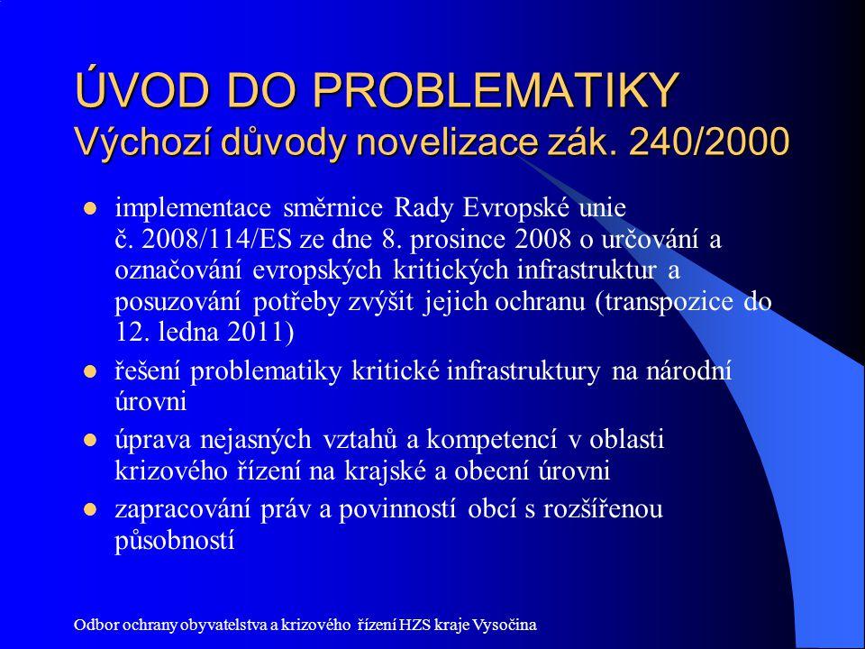 ÚVOD DO PROBLEMATIKY Výchozí důvody novelizace zák. 240/2000
