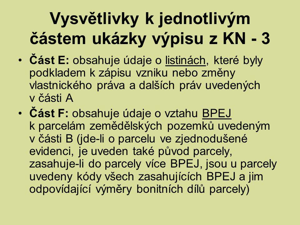 Vysvětlivky k jednotlivým částem ukázky výpisu z KN - 3