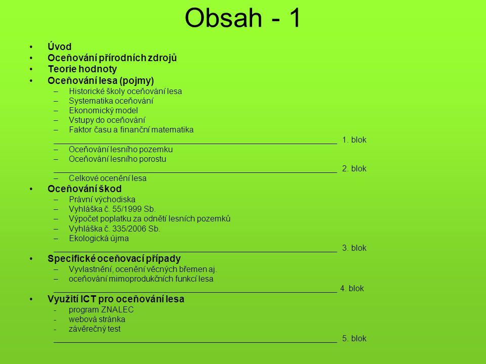 Obsah - 1 Úvod Oceňování přírodních zdrojů Teorie hodnoty