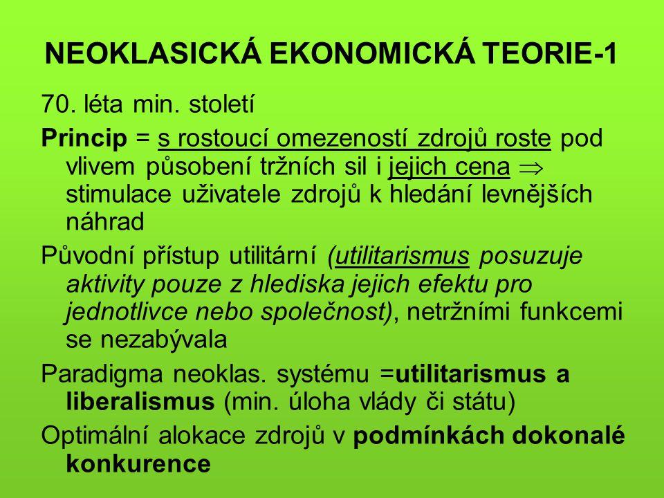 NEOKLASICKÁ EKONOMICKÁ TEORIE-1