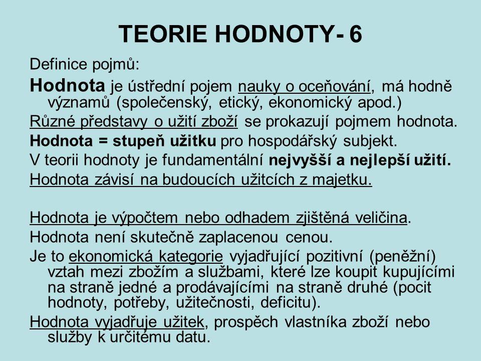 TEORIE HODNOTY- 6 Definice pojmů: Hodnota je ústřední pojem nauky o oceňování, má hodně významů (společenský, etický, ekonomický apod.)