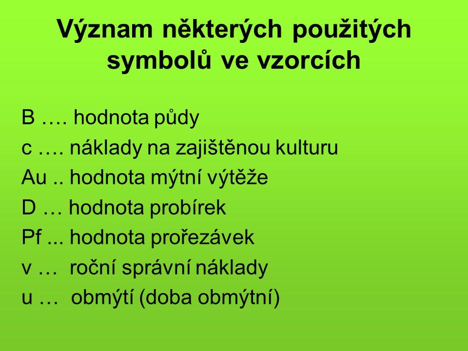 Význam některých použitých symbolů ve vzorcích