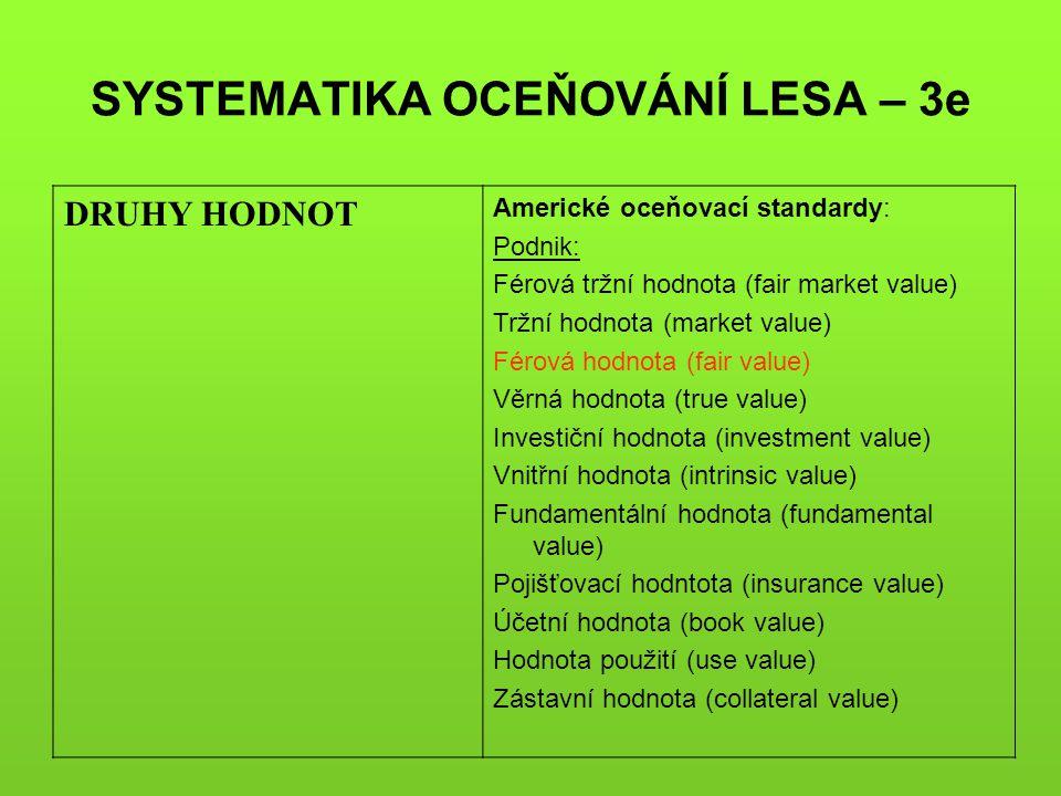 SYSTEMATIKA OCEŇOVÁNÍ LESA – 3e