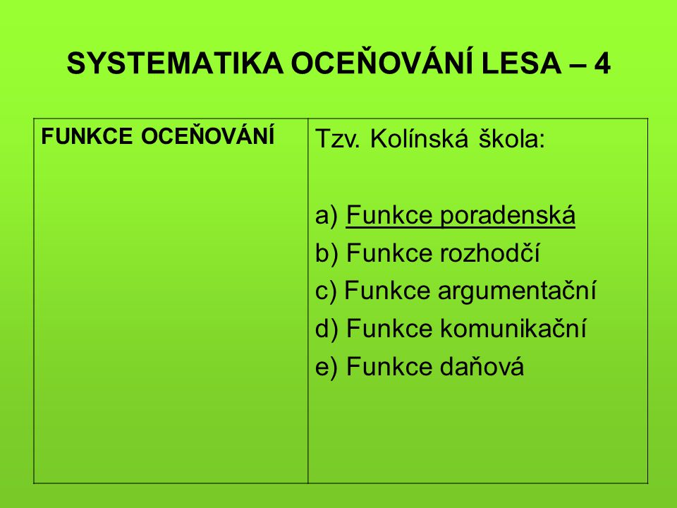 SYSTEMATIKA OCEŇOVÁNÍ LESA – 4